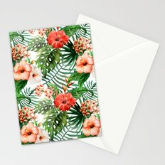 Hibiscus and Palm Leaf Pattern Stationery Cards