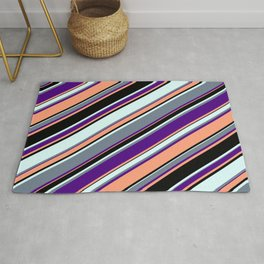 Eyecatching Indigo, Light Salmon, Black, Light Cyan & Slate Gray Colored Stripes Pattern Rug