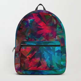 psychedelic geometric triangle abstract pattern in pink red blue Backpack