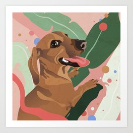 Dachshund puppy with palm leaves in bold colors Art Print