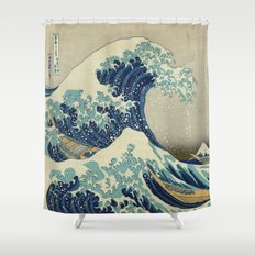 Great Wave Off Kanagawa (Kanagawa oki nami-ura or 神奈川沖浪裏) Shower Curtain