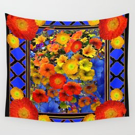 BLUE ABSTRACT OF POPPIES & YELLOW PETUNIA FLOWERS Wall Tapestry