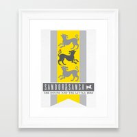 sansa Framed Art Prints featuring SanSan Custom Sigil by P3RF3KT