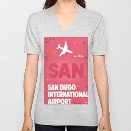 SAN San Diego airport code Unisex V-Neck