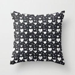 Chalkboard Hearts Pattern Throw Pillow