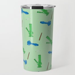 Bongs, Blunts, Joints Pattern Green Travel Mug