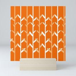 Oat Field Leafy Orange Pattern Mini Art Print