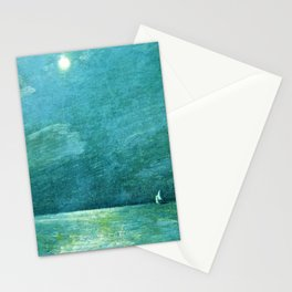 Classical Masterpiece 'Moonlight on the Sound' by Frederick Childe Hassam Stationery Cards