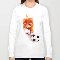 soccer Long Sleeve T-shirts featuring Soccer Kitty by Isaiah K. Stephens