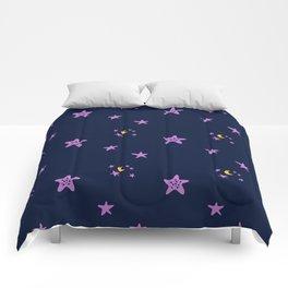 Purple plum violet stars and yellow moon by dark blue night Comforters