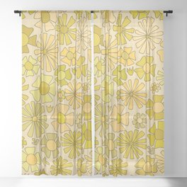 flower power // retro flower pattern by surfy birdy Sheer Curtain