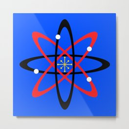 Atomic Design--Red, black, white, and gold with blue background Metal Print
