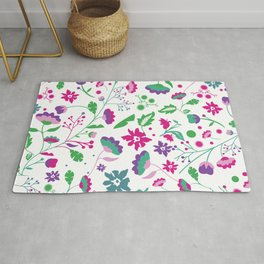 Colorful Funky Flower Garden Rug