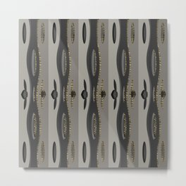 Vertical Curvy Glitter Lines in Taupe Metal Print