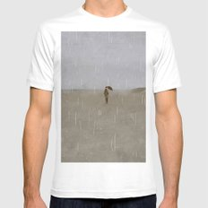 rainy day at the beach SMALL White Mens Fitted Tee