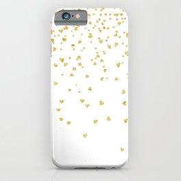 Falling hearts gold glitter confetti - Heart Love Valentine iPhone Case