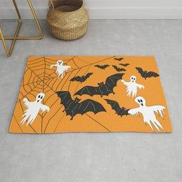 Flying Ghosts & Bats Halloween orange Rug