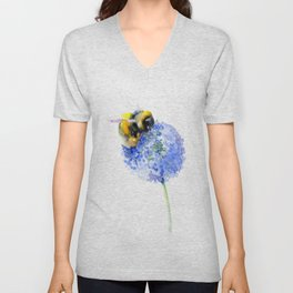 Bee and Flower, Blue Yellow Bumblebee Art Unisex V-Neck