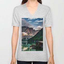 Wildsee Lake in the Italian Dolomites of South Tyrol Painting - Jéanpaul Ferro Unisex V-Neck
