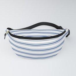Mattress Ticking Wide Horizontal Stripe in Dark Blue and White Fanny Pack