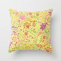 oriental Throw Pillows featuring Oriental Blooms by Poppy & Red