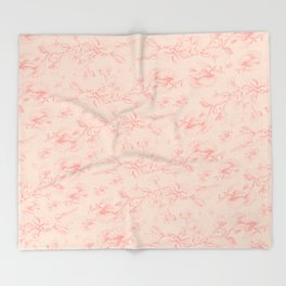 Red & Orange pohutukawa pattern Throw Blanket