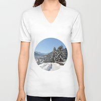 switzerland V-neck T-shirts featuring Winter in Switzerland by Design Windmill