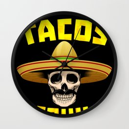 Tacos And Tequila Funny Drinking Mexican Food graphic Wall Clock
