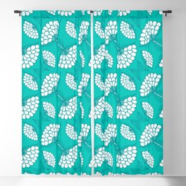 African Floral Motif on Turquoise Blackout Curtain