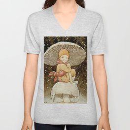 """""""The Toadstool Brolly"""" by Margaret Tarrant Unisex V-Neck"""