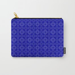 Rich Earth Blue Interlocking Square Pattern Carry-All Pouch
