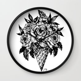 Floral Ice Cream Wall Clock