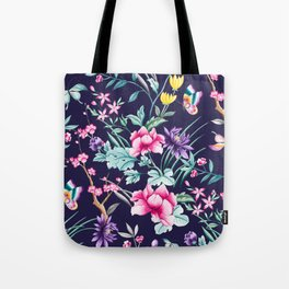 Chinoiserie french navy floral Tote Bag