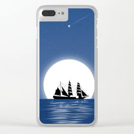 Sailing with Full Moon and Shooting Star Clear iPhone Case