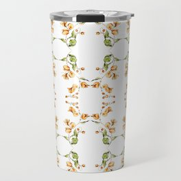 Orange Bougainvillea Mirror Pattern Travel Mug