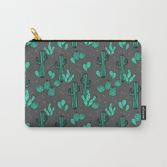 Prickly Pear - Charcoal by Andrea Lauren Carry-All Pouch