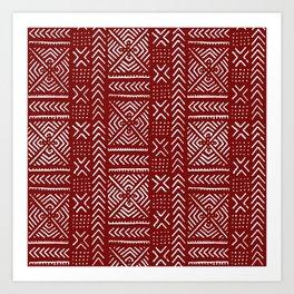 Line Mud Cloth // Maroon Art Print