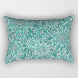 Teal & Aqua Floral Fireworks Abstract Rectangular Pillow
