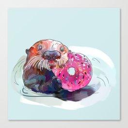 Otter Donut Canvas Print