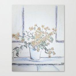 Flower Pot on Window Sill Canvas Print