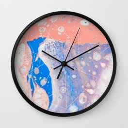 blue and peach marble with rose gold pattern Wall Clock