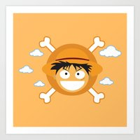 luffy Art Prints featuring Captain Monkey D. Luffy by ARI RIZKI