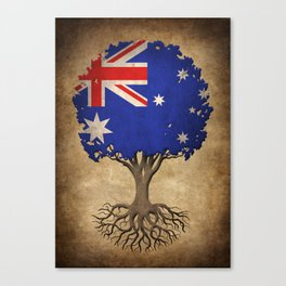 Vintage Tree of Life with Flag of Australia Canvas Print