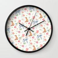 the hound Wall Clocks featuring Fox & Hound by jilln