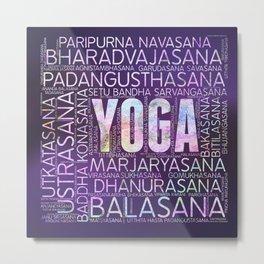 Yoga Asanas  Word Art  on Purple Metal Print