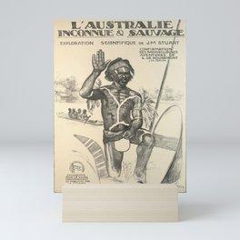 vintage placard laustralie inconnue sauvage Mini Art Print