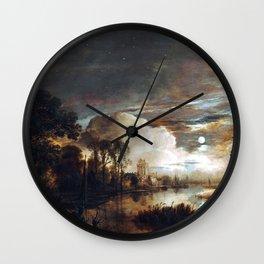 Aert van der Neer Moonlit Landscape with a View of the New Amstel River and Castle Kostverloren Wall Clock