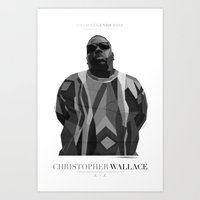 notorious big Art Prints featuring Notorious BIG by Joshua Baron
