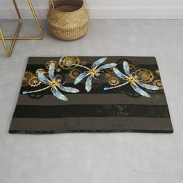 Steampunk Design with Mechanical Dragonflies Rug