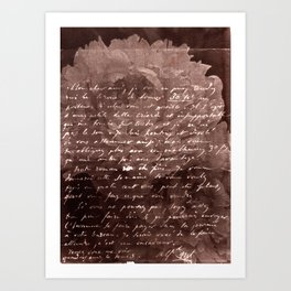 Letter and Flower II, brown edition Art Print